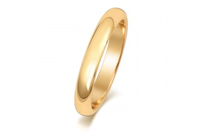 9ct Yellow Gold D Shape 3mm Medium Weight Band